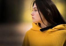 Beautiful girl at forest in autumn season stock images