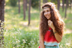 Beautiful girl in a forest Stock Photo