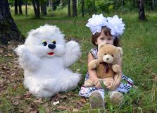 Autumn forest bear toy smiling people park toy  toy outdoors childhood love portrait fun green summer smile woman pet child animal Royalty Free Stock Image