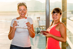 Beautiful girl with forms boarding passes Royalty Free Stock Images