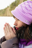 Beautiful girl freezes in winter Royalty Free Stock Photography