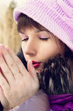 Beautiful girl freezes in winter Royalty Free Stock Photos