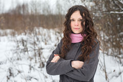Beautiful girl freezes in winter royalty free stock images