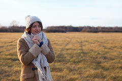 Beautiful girl freezing outdoor. Stock Images