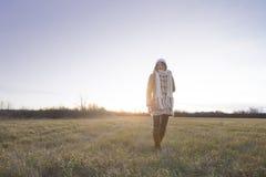 Beautiful girl freezing outdoor. Royalty Free Stock Photos
