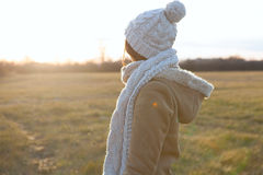 Beautiful girl freezing outdoor. Royalty Free Stock Images