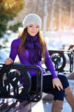 Beautiful girl freezing in winter park Royalty Free Stock Photos