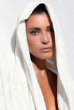 Natural Beauty. After Bath. Beautiful girl with fresh clean skin wrapped in a towel Royalty Free Stock Photos