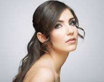 Beautiful girl with fresh make up, long hair style. Royalty Free Stock Images