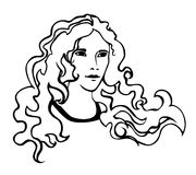 Beautiful girl with frizzy hair. Vector image. Royalty Free Stock Photos