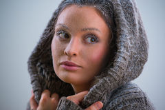 Beautiful girl with frost on face closeup Royalty Free Stock Photography