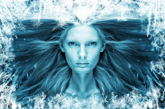 Beautiful girl in the frost Royalty Free Stock Photos