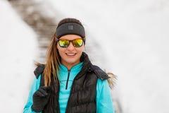 Beautiful girl in frozen park Stock Photo