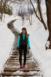 Beautiful girl in frozen park Stock Images