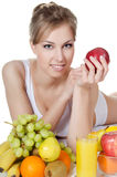 Beautiful girl with fruit and vegetables Royalty Free Stock Photography