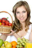 Beautiful girl with fruit and vegetables Stock Image