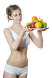 Beautiful girl with fruit and vegetables Royalty Free Stock Photo