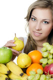 Beautiful girl with fruit and vegetables Stock Photo