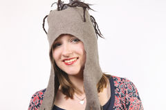 Beautiful girl with fun hat. Beautiful woman with felt hat Royalty Free Stock Photos