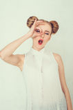 Beautiful girl with funny hairstyle. Royalty Free Stock Photography