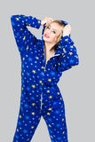 Beautiful girl in funny pajamas Stock Photo