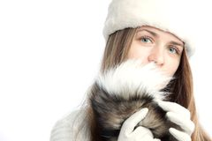 Beautiful girl with fur Stock Image
