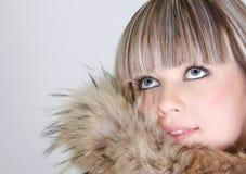 Beautiful girl in fur Royalty Free Stock Image