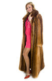 Beautiful girl in a fur coat Royalty Free Stock Photo