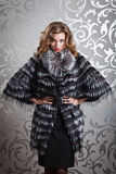 Beautiful girl in fur coat. Beautiful girl with curly hair in silver fox BLACK-WHITE fur coat Stock Photos