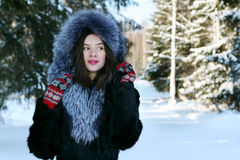 Beautiful girl in fur coat dreams Stock Photography