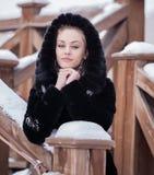 Beautiful girl in a fur coat. Stock Images