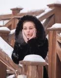 Beautiful girl in a fur coat. Royalty Free Stock Images