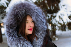 Beautiful girl in fur coat Royalty Free Stock Image