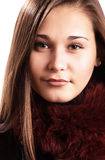 Beautiful girl in fur collar Stock Photo