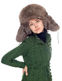 Beautiful girl in fur hat Stock Images