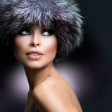 Beautiful Girl in Fur Hat stock image