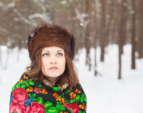 Beautiful girl in a fur hat Stock Image