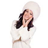 Beautiful Girl in Fur Hat. Winter Woman Portrait Royalty Free Stock Images