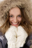 Beautiful girl in fur hood Royalty Free Stock Photo