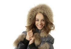 Beautiful girl in fur hood Royalty Free Stock Photos