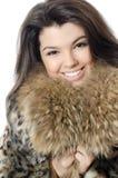 Beautiful girl in a fur hood Royalty Free Stock Photos