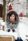 Beautiful girl in fur hood Stock Image