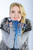 Beautiful girl in fur vest Royalty Free Stock Image