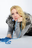 Beautiful girl in fur vest Stock Photo