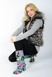 Beautiful girl in fur vest Stock Photos