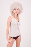 Beautiful girl in furry hat Stock Photos