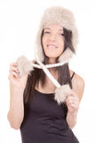 Beautiful Girl in Furry Hat. Winter Woman Portrait Royalty Free Stock Images