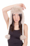 Beautiful Girl in Furry Hat. Winter Woman Portrait Stock Photography