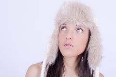 Beautiful Girl in Furry Hat. Winter Woman Portrait Royalty Free Stock Photo