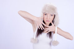 Beautiful Girl in Furry Hat. Winter Woman Portrait Royalty Free Stock Image